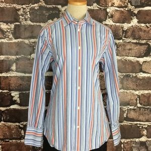 Faconnable Button Down Shirt Top France Stripe Red